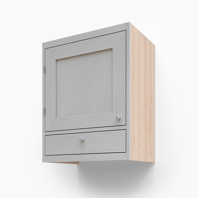 Väggskåp med en lucka och en låda
