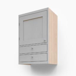 Väggskåp med en lucka och två lådor
