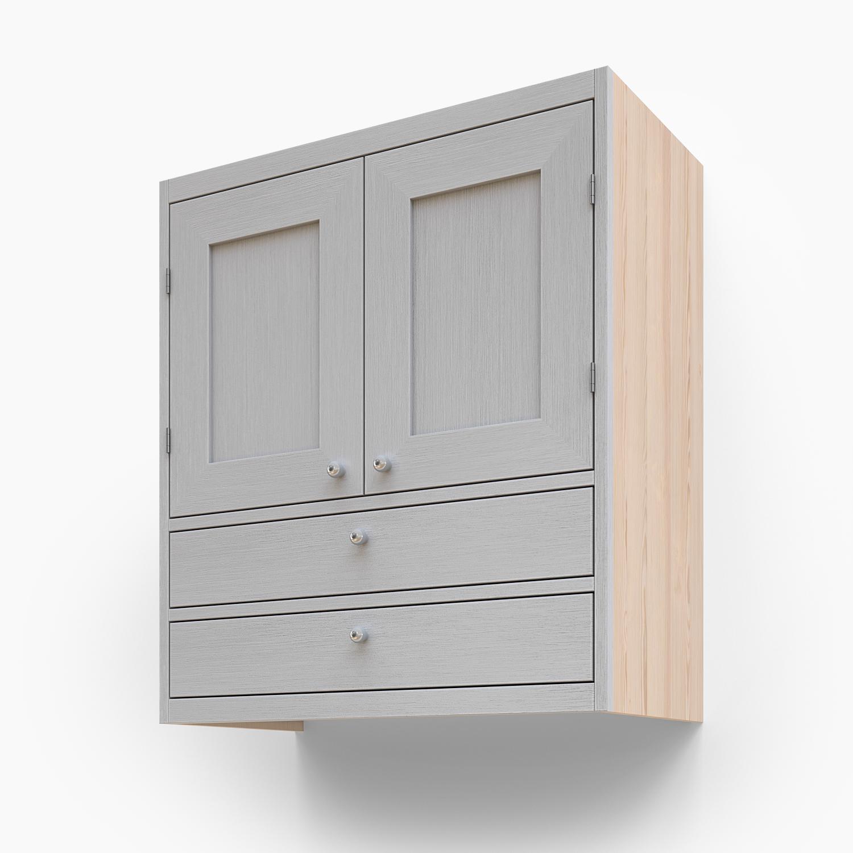 Väggskåp med dubbel lucka och två lådor